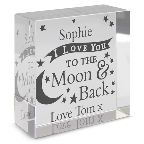 Personalised I Love You to the Moon & Back Medium Glass Token
