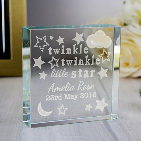 Personalised Twinkle Twinkle Large Glass Token