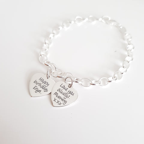 Actual Handwriting Sterling Silver Bracelet