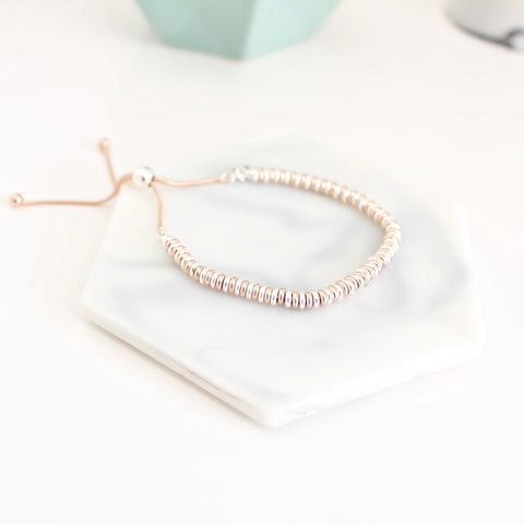 Two-Tone Flat Bead Slider Bracelet
