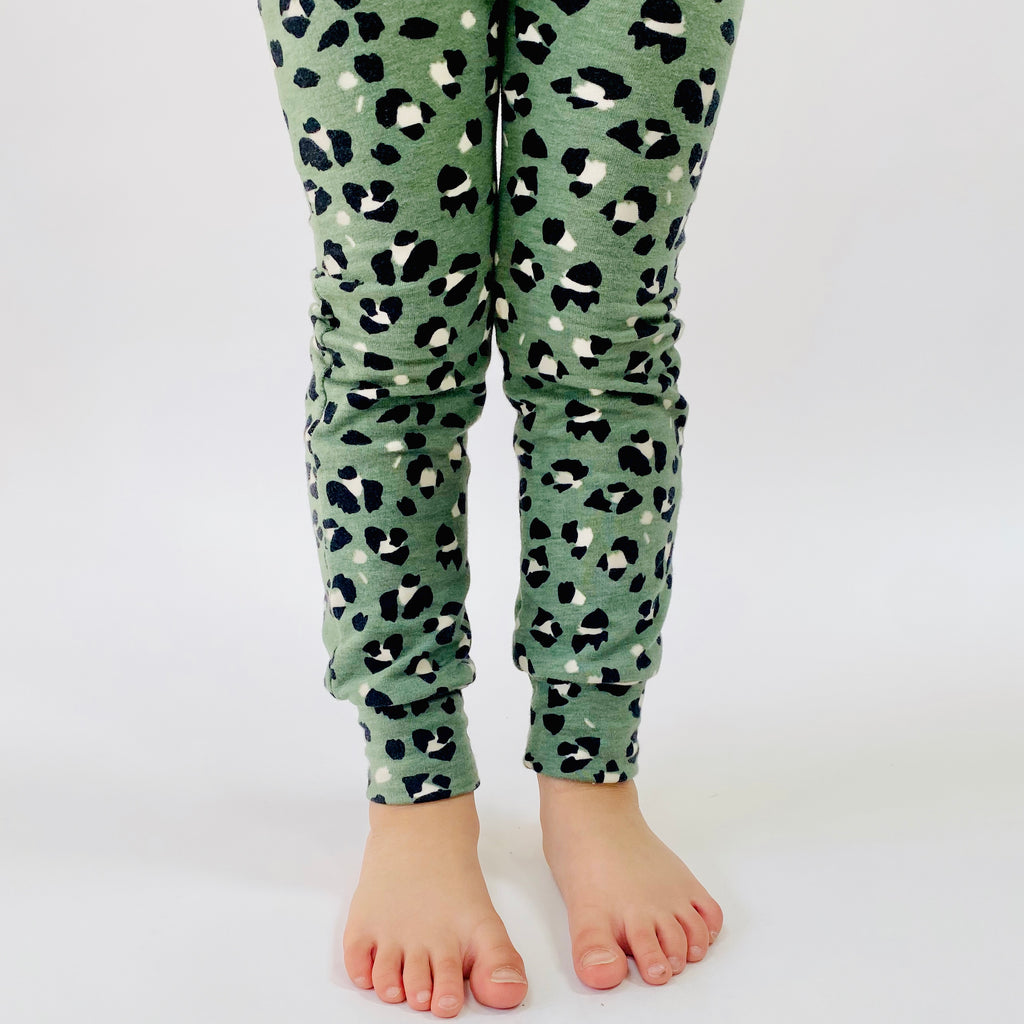 "Eddie & Bee organic cotton leggings in Sage ""Leopard Spot"" print."