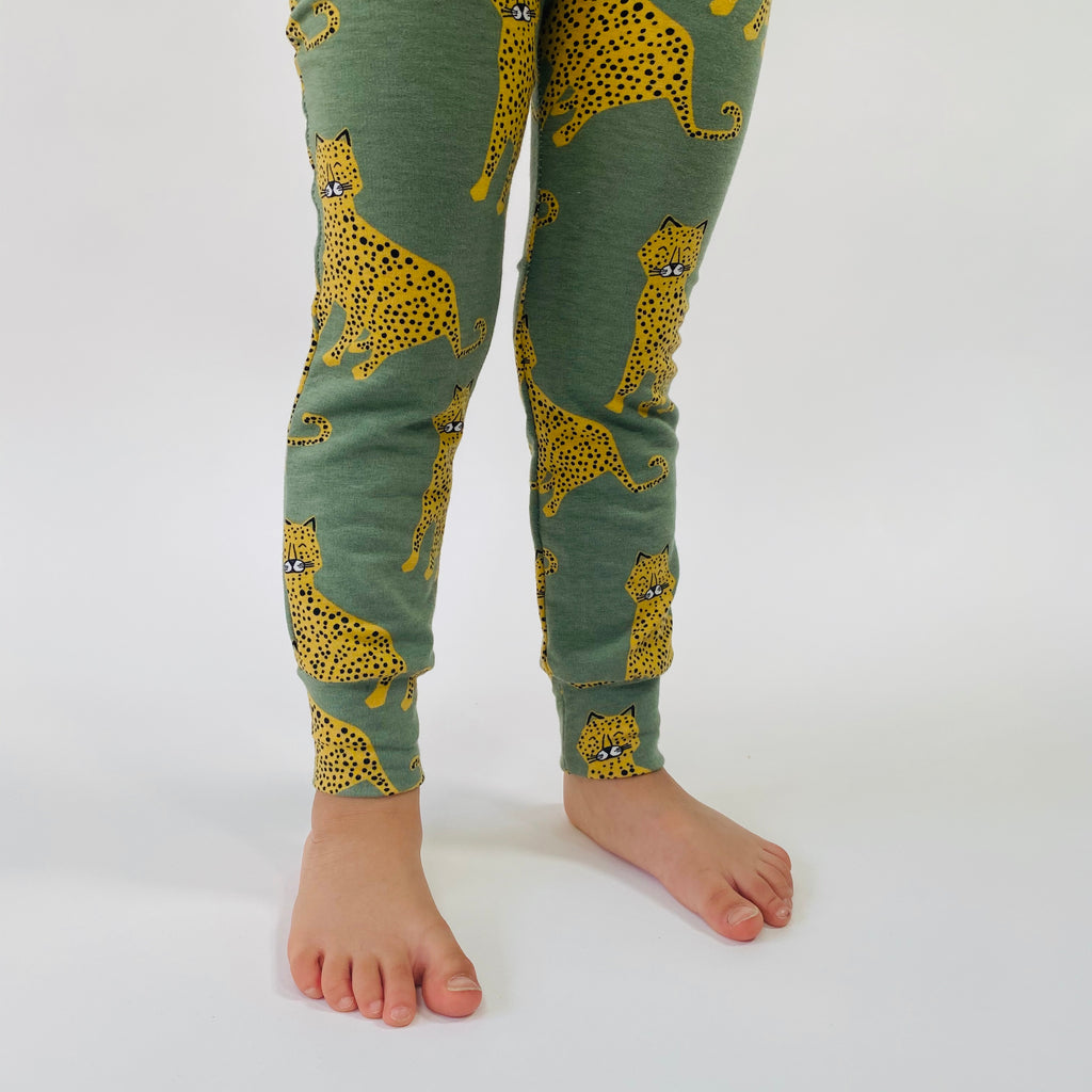 "Eddie & Bee organic cotton leggings in Sage ""Happy Leopard"" print."