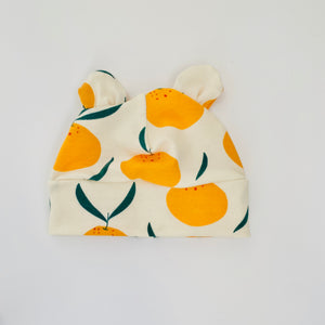 "Eddie & Bee organic cotton Baby hat with ears  in Cream "" Clementine Grove"" print."