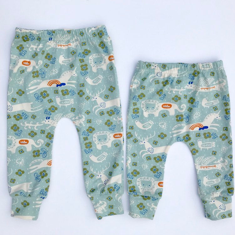 "Eddie & Bee organic cotton leggings in Mineral ""Enchanted Kingdom"" print."