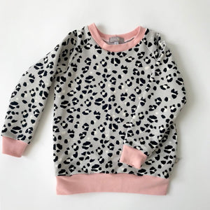 "Eddie & Bee organic cotton sweatshirt  in Grey ""Snow Leopard"" print with choice of trim colour."