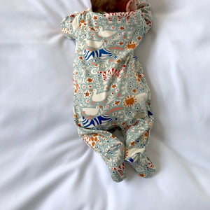 "Eddie & Bee organic cotton Baby sleepsuit  in Mineral "" Animal Party "" print."