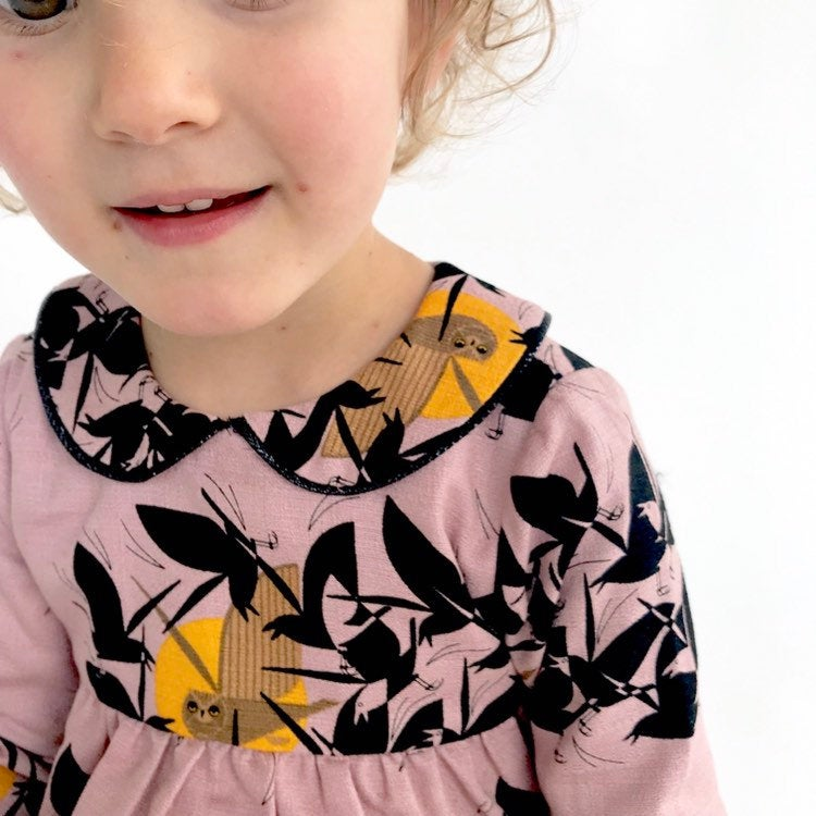 "Eddie & Bee ""Luna"" collar dress in pink  ""Owl at Dusk "" print organic cotton  with Sparkly black trimmed collar."