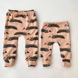 "Eddie & Bee organic cotton leggings in Dusty pink ""Hello Caterpillar"" print."