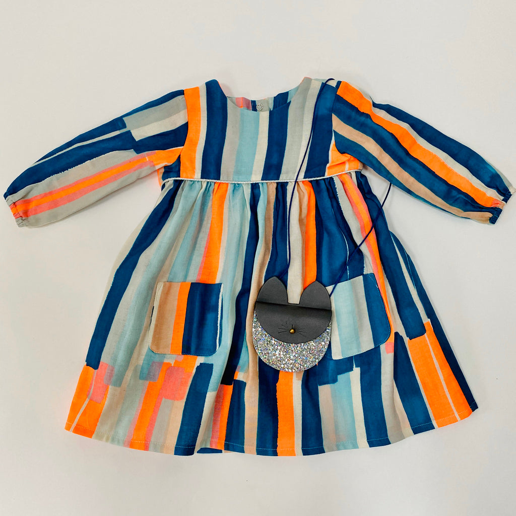 "Eddie & Bee ""Frida"" dress in Neon paint stripes printed super soft cotton double gauze with silver trim and POCKETS!"