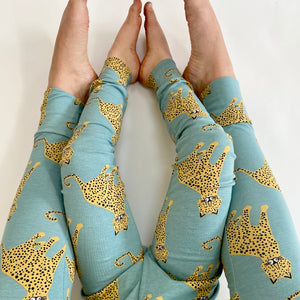 Aqua 'Happy Leopard' Adult Organic cotton leggings