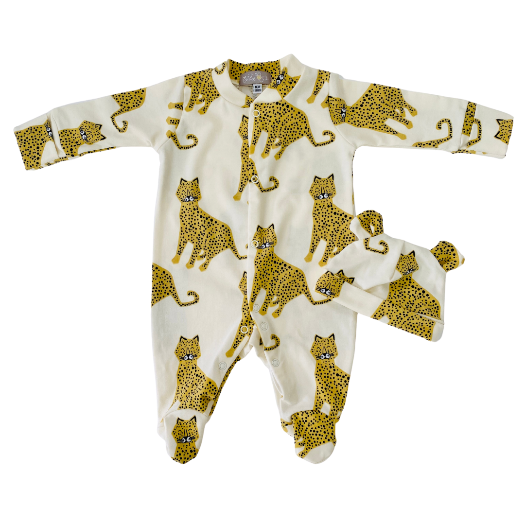 "Eddie & Bee organic cotton Baby sleepsuit  in Cream "" Happy Leopards"" print."