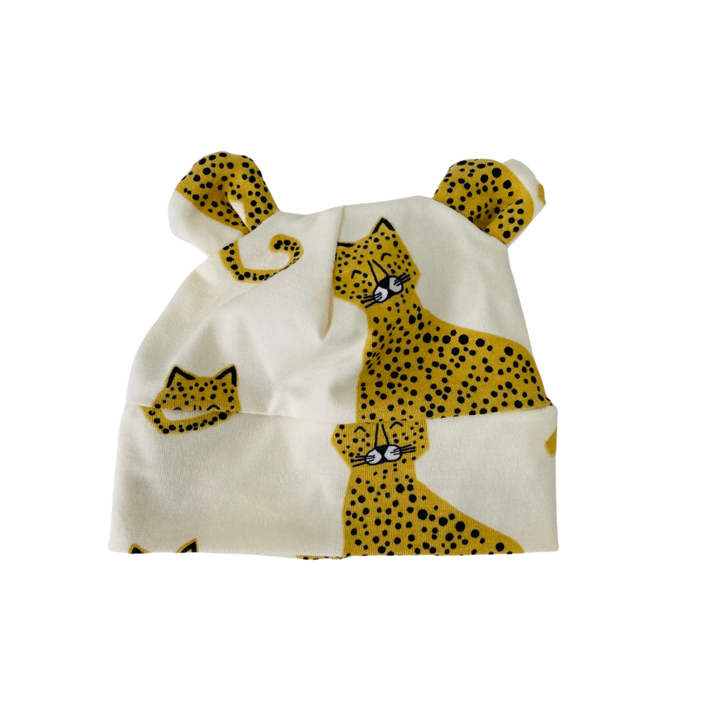 "Eddie & Bee organic cotton Baby hat with ears  in Cream "" Happy Leopards"" print organic cotton jersey ."