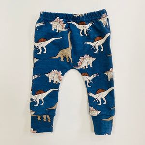 "Eddie & Bee organic cotton leggings in blue ""Dino"" print."