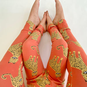 Coral 'Happy Leopard' Adult Organic cotton leggings