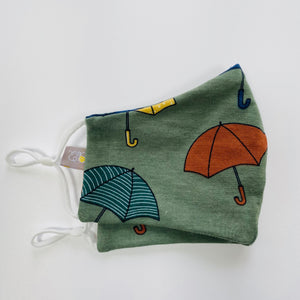 "Green ""Rain, rain, go away!""Adult Face mask"