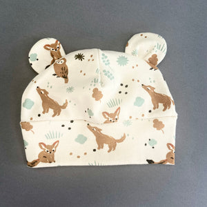 "Eddie & Bee organic cotton Baby hat with ears  in Cream "" Woodland Owl"" print."