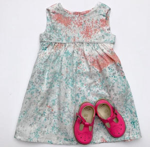 "Eddie & Bee ""Ida"" dress in turquoise, pink and silver ""Monet"" printed super soft cotton double gauze with silver trim and POCKETS!"