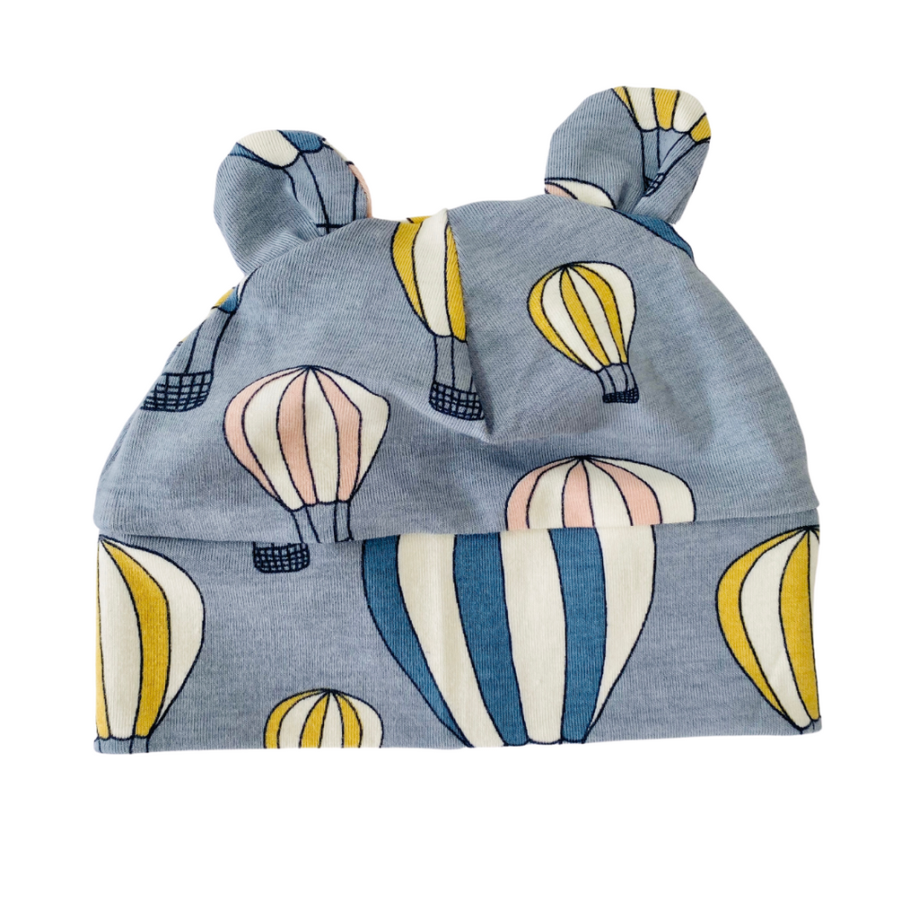 "Eddie & Bee organic cotton Baby hat with ears  in Grey "" Up, up and away"" print organic cotton jersey ."