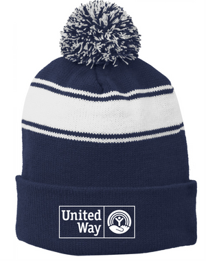 United Way Sport-Tek® Stripe Pom Pom Beanie