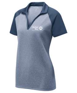 United Way Sport-Tek ® Ladies PosiCharge ® RacerMesh ® Raglan Heather Block Polo