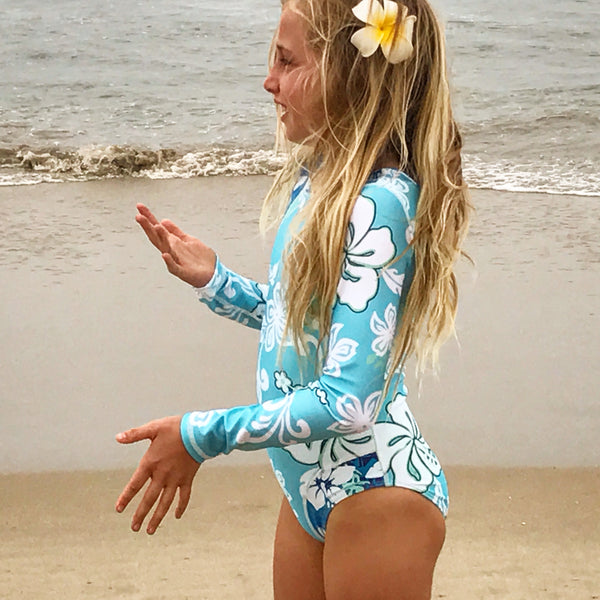Girls Long Sleeve Coolie-Kini - Bora Bora