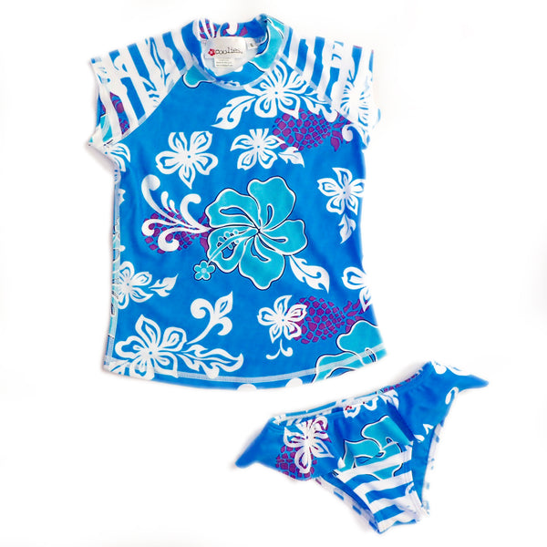 Girls Cap Sleeve Rashguard Set with Ruffled Bikini Bottom - Matira Blue