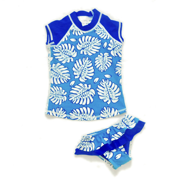 Girls Cap Sleeve Rashguard Set with Ruffled Bikini Bottom - Rangirora