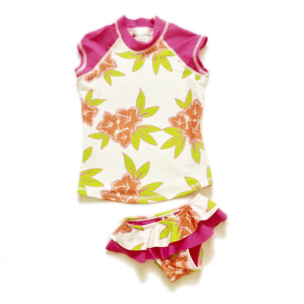 Girls Cap Sleeve Rashguard Set with Ruffled Bikini Bottom - Mango