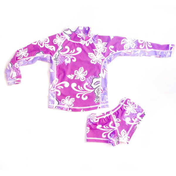 Girls Long Sleeve Rashguard and Shorts - Huahine Lilac