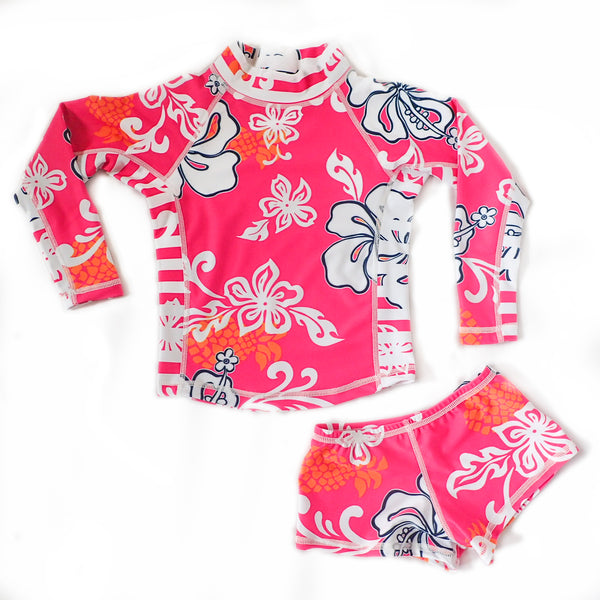 Girls Long Sleeve Rashguard and Shorts - Kai Pink