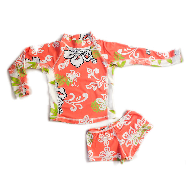 Girls Long Sleeve Rashguard and Shorts - Moana Mango