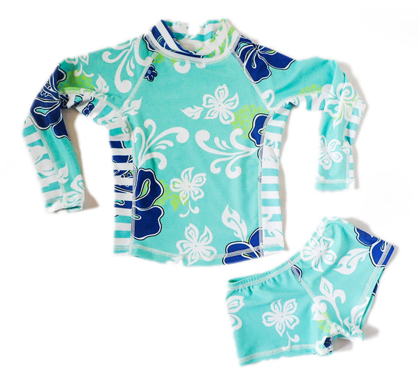 Girls Long Sleeve Rashguard and Shorts - Salt Water Green