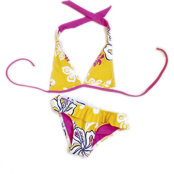 Girls Halter Top with Ruffle Bikini Bottom - Lemoncello