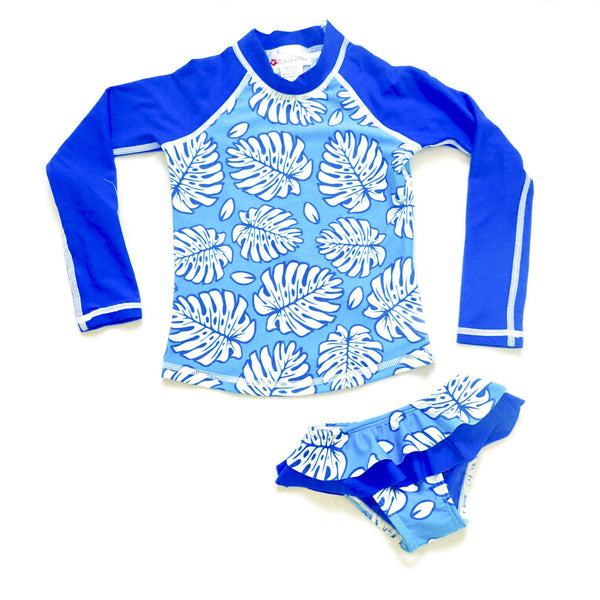 Girls Long Sleeve Rashguard and Ruffle Bikini Bottom - Rangirora