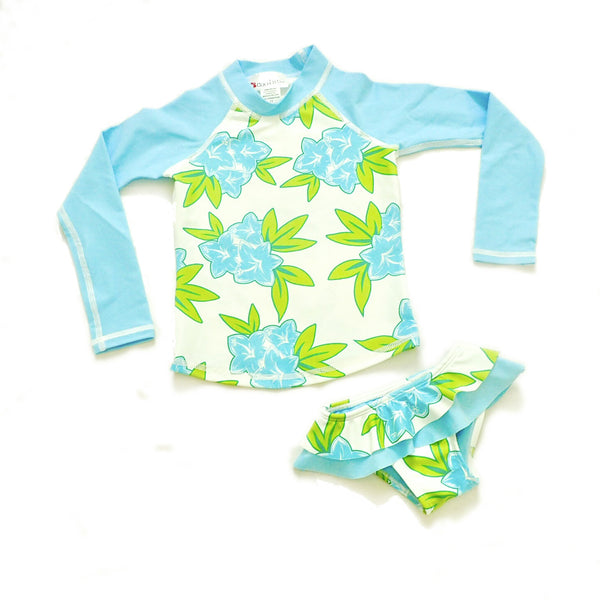 Girls Long Sleeve Rashguard and Ruffle Bikini Bottom - Lagoon