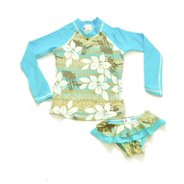 Girls Long Sleeve Rashguard and Ruffle Bikini Bottom - Taha Ha