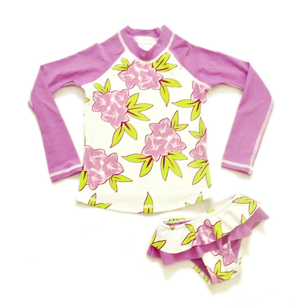 Girls Long Sleeve Rashguard and Ruffle Bikini Bottom - Maeva