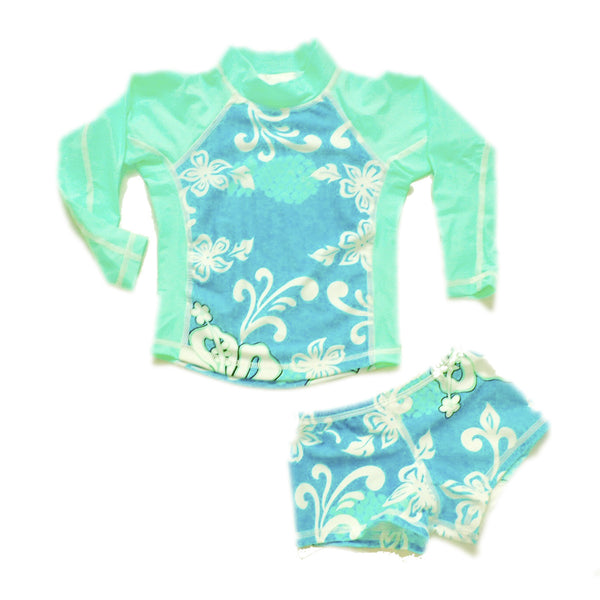 Girls Long Sleeve Rashguard and Shorts - Bora Bora