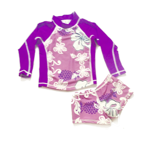 Girls Long Sleeve Rashguard and Shorts - Moorea