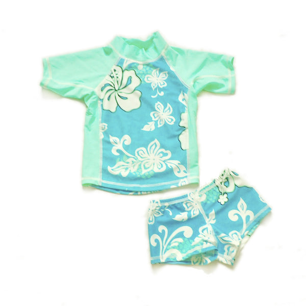 Girls Short Sleeve Rashguards and Shorts - Bora Bora