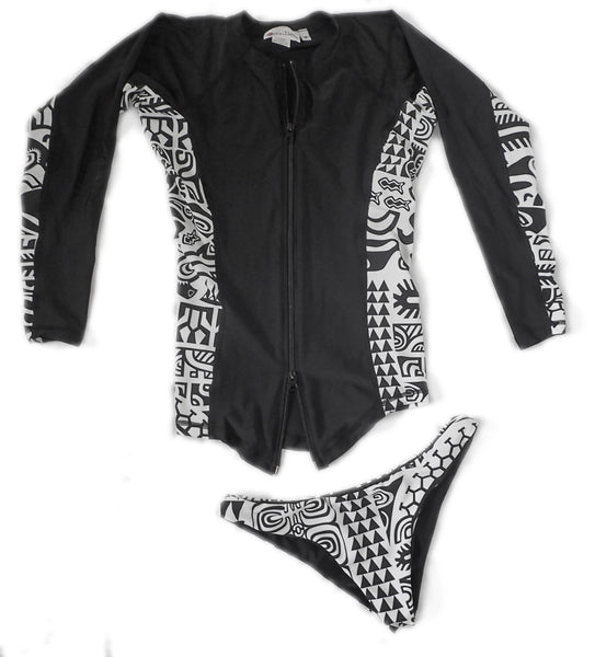 Womens Long Sleeve Zip Up Rashguard and Bikini Set - Teahupo'o Black