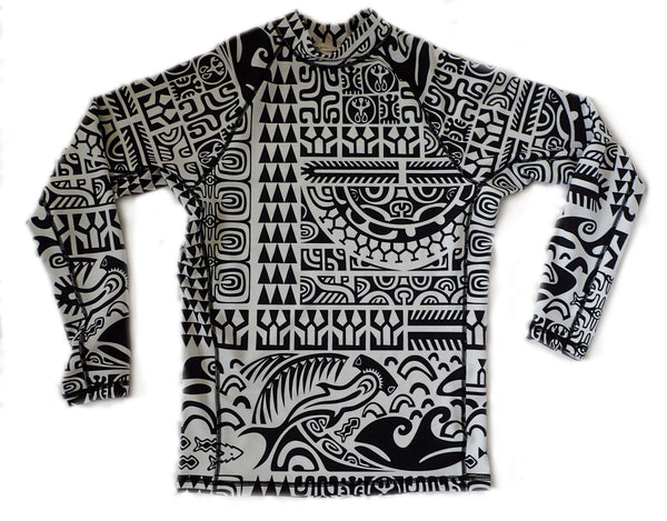 Men's Long-sleeve rashguard Matamua print SPF 50+ surf shirt