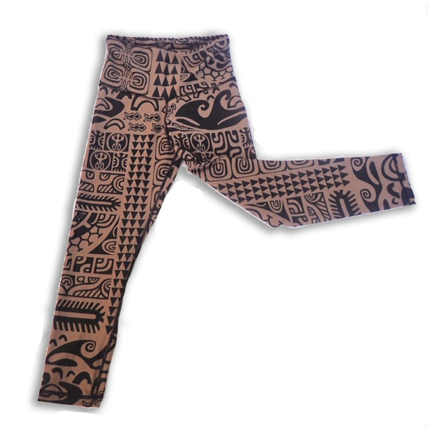 Womens Surf Vahine Tights - Matamua Brown