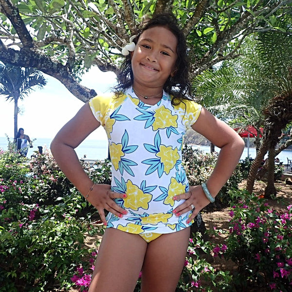 Girls Cap Sleeve Rashguard Set with Ruffled Bikini Bottom - Raiatea Yellow