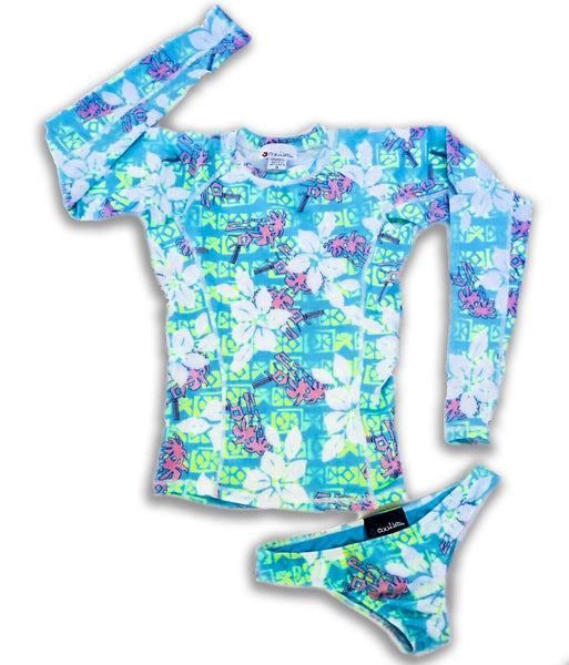 Womens Long Sleeve All-Over Print Rashguard and Bikini Set - Royal Hawaiian