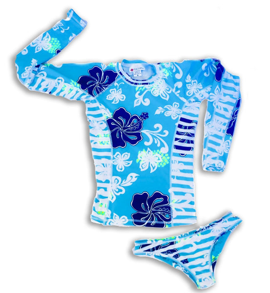 Womens Long Sleeve All-Over Print Rashguard and Bikini Set - Sea Gypsy Aqua