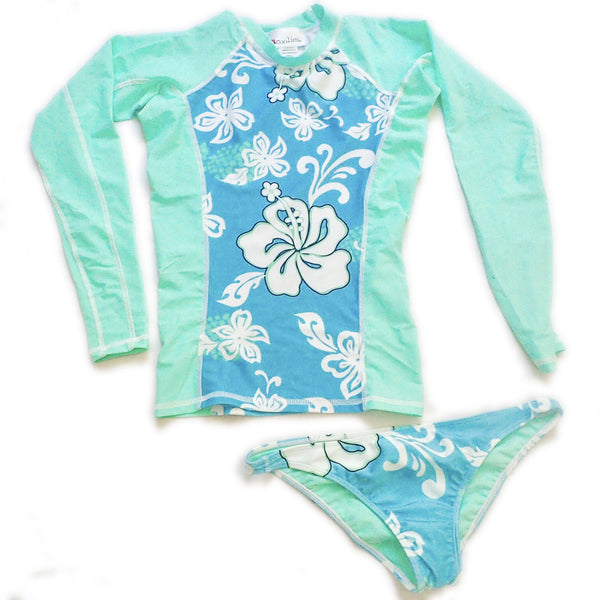 Womens Two-Tone Long Sleeve Rashie and Bikini Set - Bora Bora