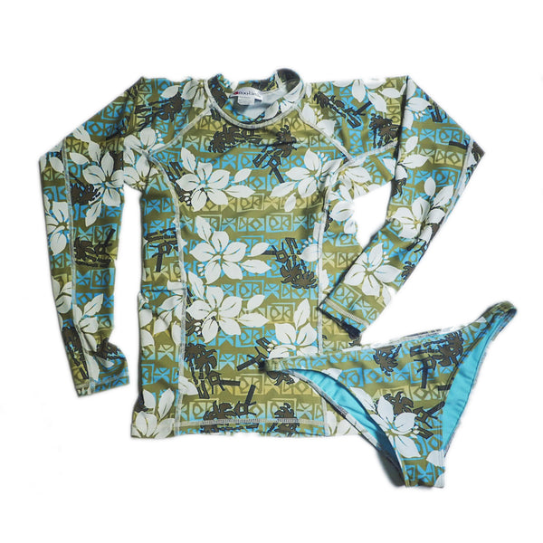Womens Long Sleeve All-Over Print Rashguard and Bikini Set - Taha Ha