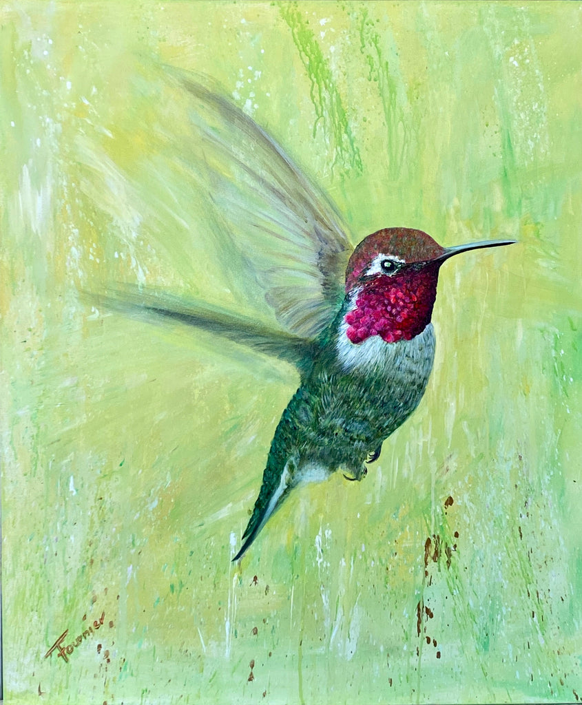 """Ruby Red"" In Flight Collection 36""x30"" Acrylic on Canvas"