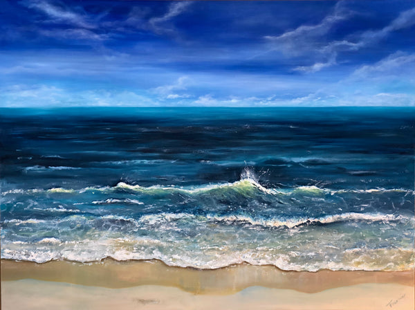 "SOLD-""Breaking Wave"" 3D-Oil on canvas 36""x48"""